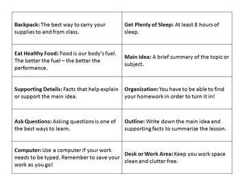 Updated! Study Skills Bingo Game