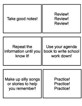 Study Skills Bingo Grades 3-5