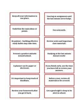 Study Skills Bingo - Valentine Edition