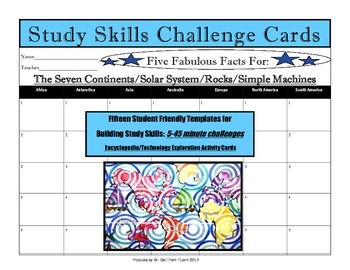 Gifted Early Finisher Study Skills Challenge Activity Cards