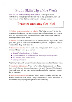 Study Skills: Creative Writing