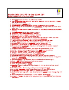 Study Skills Fill-in-the-Blank activity by Kim Townsel 2013