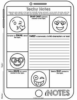 Study Skills - Note Taking Organizers