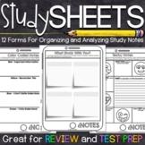 Study Skills | Note Taking Organizers