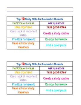 Study Skills Guidance Counseling Lesson Plan