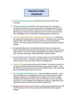 Study Skills ( Ideas to Focus & Recall )