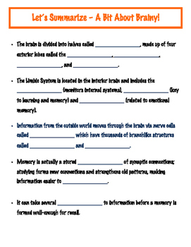 Study Skills - Lesson 3 - Guided Notes for A Bit About Brainy Lesson