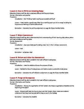 Study Skills Lesson Plan