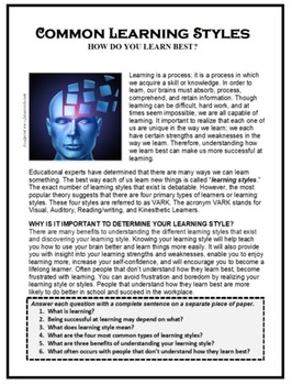 Study Skills, Life Skills, LEARNING STYLES, Learning Strategies