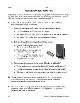 Study Skills: More Essay Test Practice