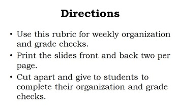 Study Skills Organization Rubric