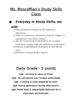 Study Skills Rules and Grading Policy Poster