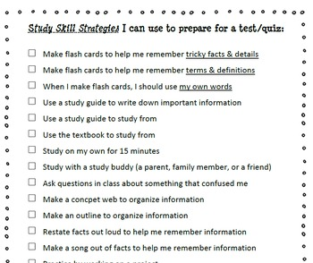 Study Skills Set -- Items to use when Teaching Study Skills (& Test Reflection)