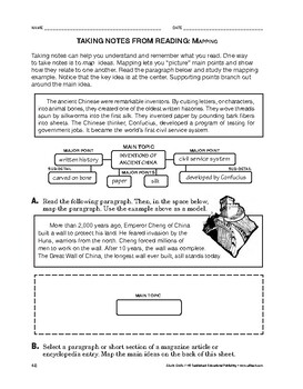 Study Skills: Taking Notes From Reading: Mapping
