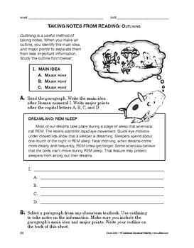 Study Skills: Taking Notes From Reading: Outlining