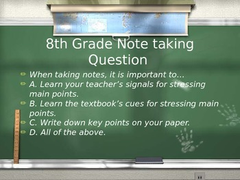 Study Skills, Time Management, & Note taking Review Game