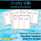 Study Skills Weekly Checklist