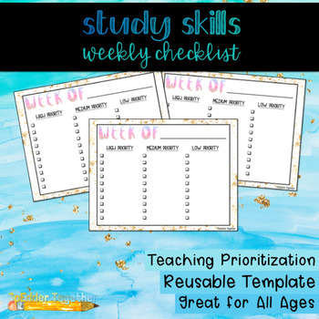 Study Skills Weekly Checklist By Spedder Together  Tpt