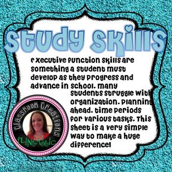 Study Skills- Weekly Planner [NO PREP]