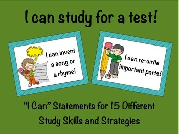 Study Skills and Strategies: I Can Statement Task Cards