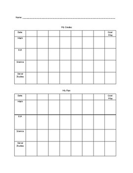 Study Skills: grade tracker with individual plan to reach goals