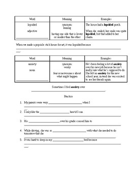 Study Sync 8th Grade Unit 2 Vocabulary