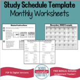 Study Schedule Template Monthly Worksheet