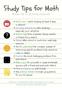 Study Tips for Math Poster