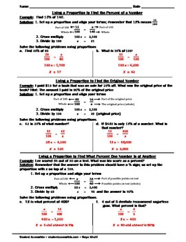 Study guide for Using Proportions to Solve Percent Problems