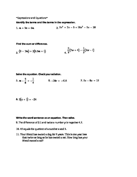 Study guide (rational numbers, integers, expressions and equations)