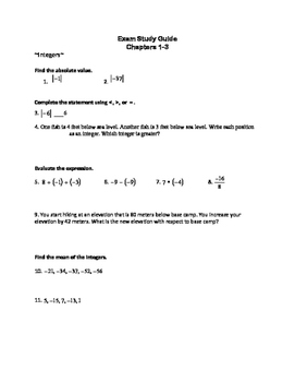 Study guide (rational numbers, integers, expressions and e