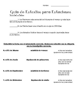 Study guide/test for the season - guia de estudios/examen para estaciones