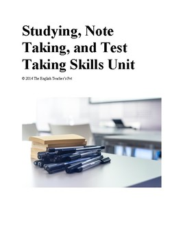 Study, note taking, and testing skills unit with lesson pl