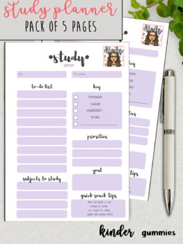 study planner for students 5 pages by planning geek tpt