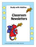 Freebie: Study with Adeline: Classroom Newsletters