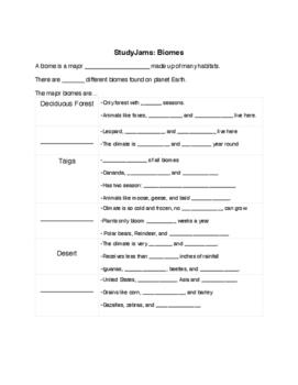 StudyJams Biomes Note Taking Guide
