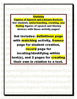 Figurative Language and Literary Devices:  Define, Identify, & Create