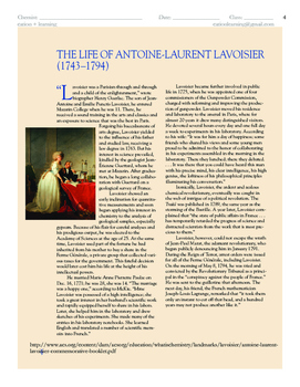 Studying Matter - Lavoisier and the Chemical Revolution (1773)