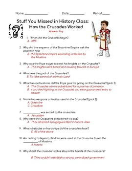Stuff You Missed In History Class- How the Crusades Worked Podcast Questions