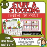 Stuff a Stocking Christmas Math Activity print or Digital