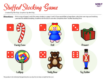 """""""Stuff the Stocking"""" Roll a Dice Game: A Speech Therapy Reinforcer/craftivity"""