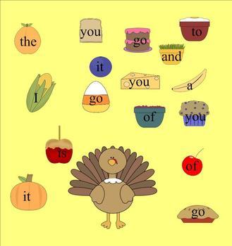 Stuff the Turkey Sight Word Game
