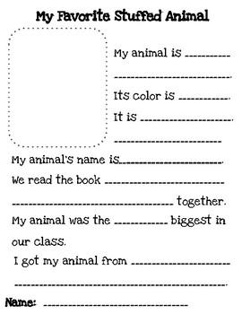 Stuffed Animal Day Writing
