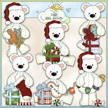 Stuffed Polar Bears Christmas Clip Art - CU Colored Clip Art