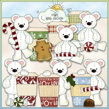 Stuffed Polar Bears Christmas Espresso Clip Art - CU Color