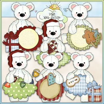 Stuffed Polar Bears Christmas Sentiments Clip Art - CU Colored Clip Art