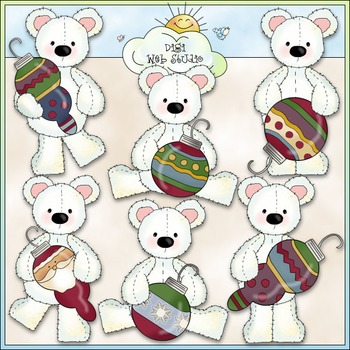 Stuffed Polar Bears Deck The Halls Clip Art - CU Colored Clip Art