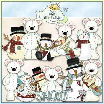 Stuffed Polar Bears Snow Pals Clip Art - CU Colored Clip Art