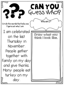 November Activities for First Graders