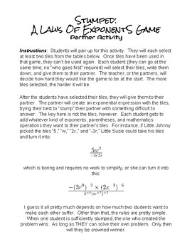 Stumped:  A Creative Laws of Exponents Game